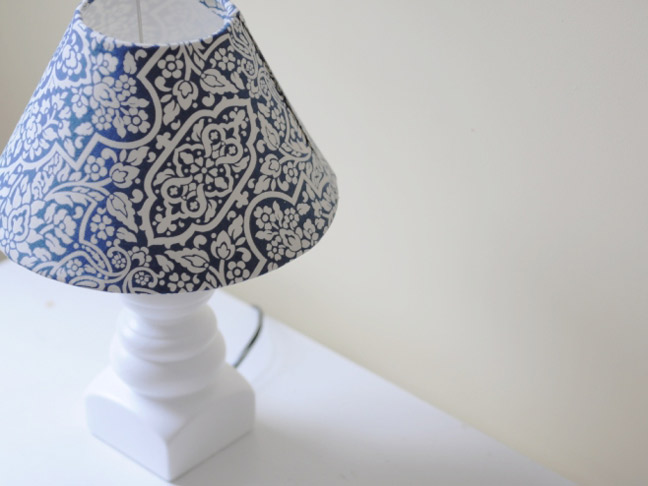 Diy how to make a lampshade cover a white lamp and lampshade thats been refitted with blue paisley print aloadofball Choice Image