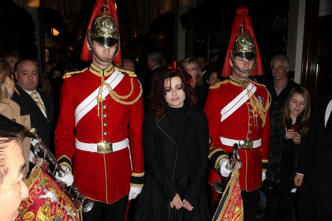 helena bonham carter, black coat, red bow