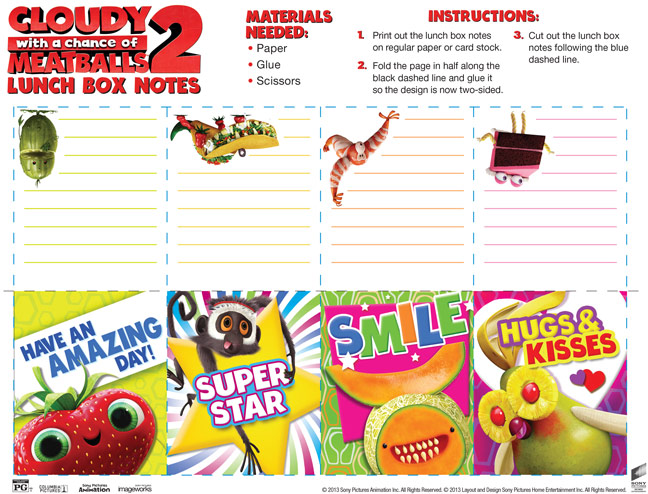 Click for the full resolution version of the Cloudy with a Chance of Meatballs 2 Lunchbox Notes!
