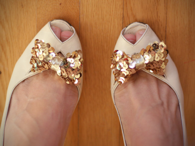 SEQUIN SHOE CLIPS ON SHOES