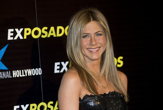 jennifer aniston black leather dress, strapless black dress