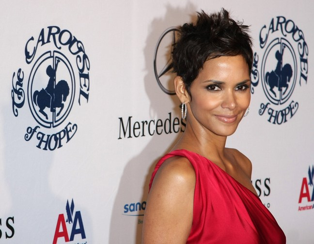 Halle Berry red dress, red silk dress