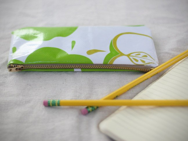 green apple pencil case with #2 pencils