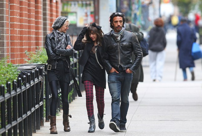 Carlos Leon, black leather jacket, black jeans, Lourdes Leon