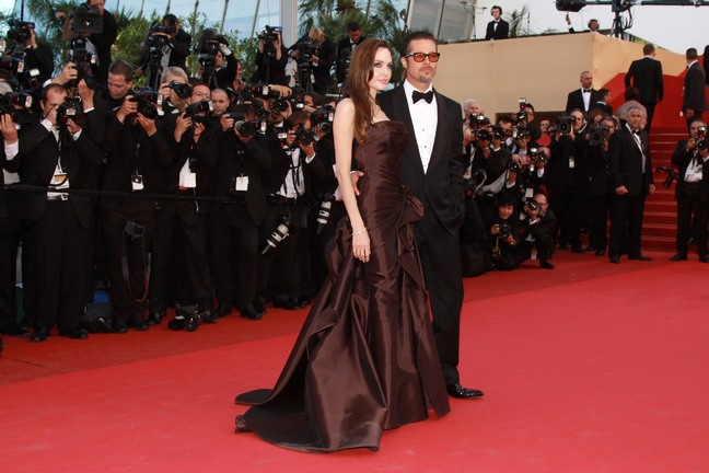 Angelina Jolie brown dress, brown gown, thigh slit gown