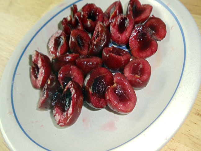 bing cherries halved and pitted
