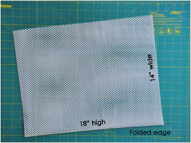 mesh bag on cutting mat