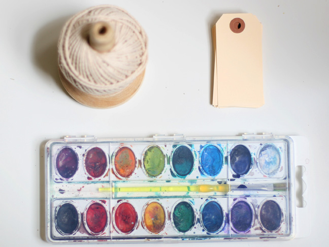 Watercolor Gift Tags Materials