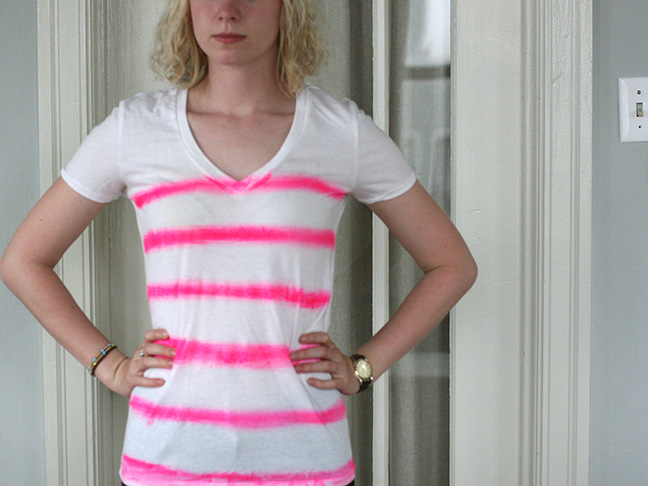 white tee shirt with pink lines