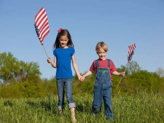 2 Kids with American Flags