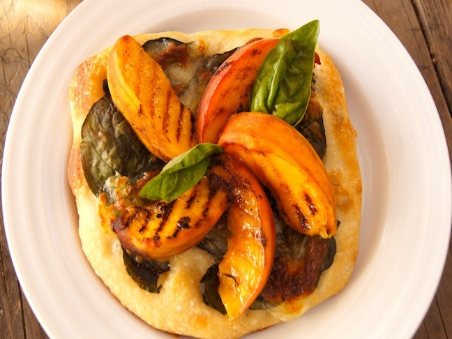 Grilled Peach and Basil Pizza