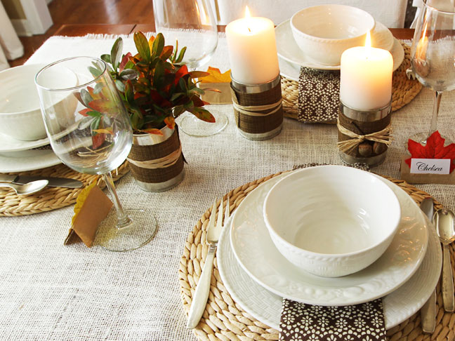 Diy Candle Holders at Place Setting