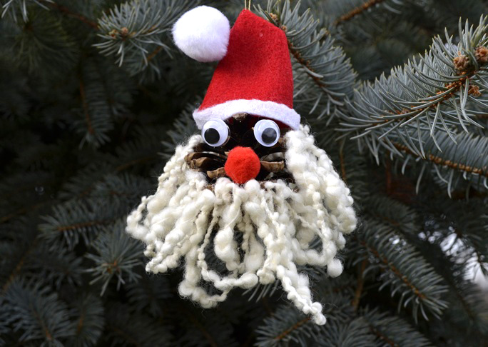 Pinecone Santa Ornament