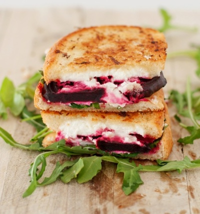 Beet Arugula and Goat Grilled Cheese