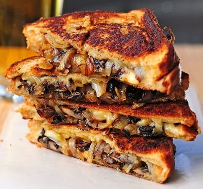 Mushrooms Onion and Gouda Grilled Cheese