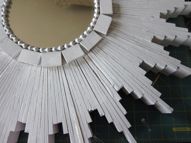 diy white wood starburst mirror