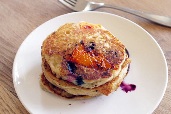Apricot and Blueberry Pancakes Summer Breakfast Brunch