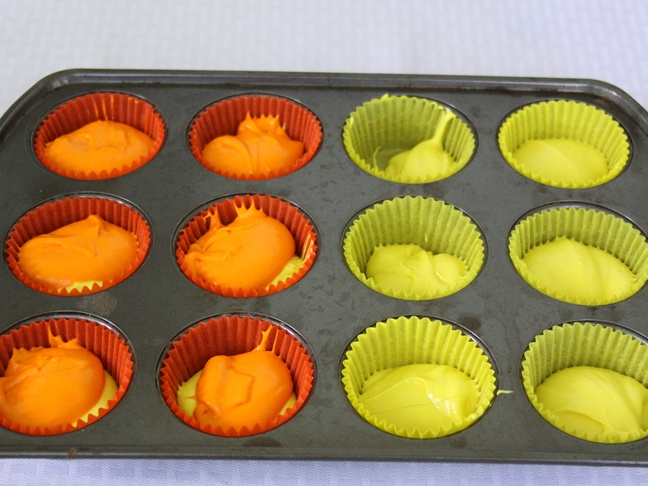 Candy Corn Cupcakes - Step 1