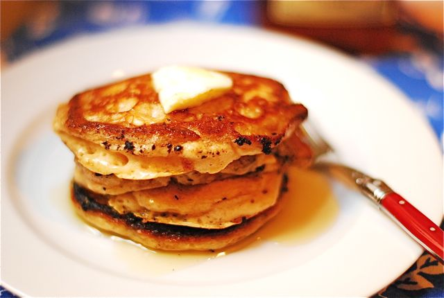 Homemade Pancakes with Cinnamon Maple Syrup