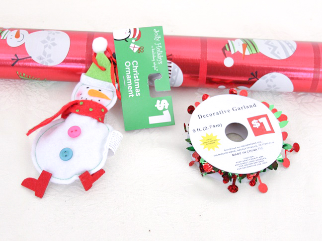 dollar_store_snowman_ornament_gift_wrap_materials