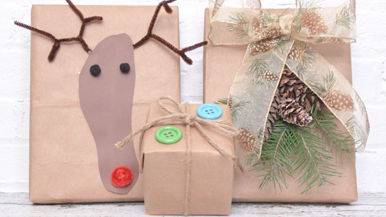 Christmas Gift Bags Kraft Paper Bag Festive Wrapping Christmas Packaging 3 Sizes