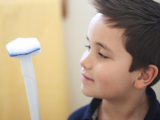 little boy in a blue shirt holding and staring at the toilet wand