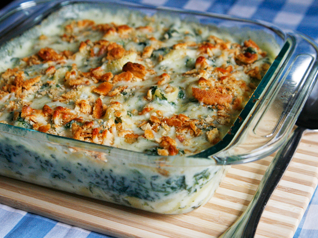 baked spinach Mac and cheese