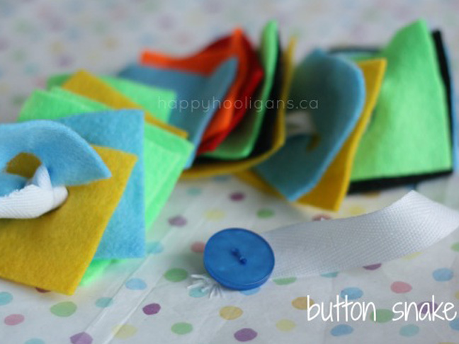 Button Snake with felt and ribbon