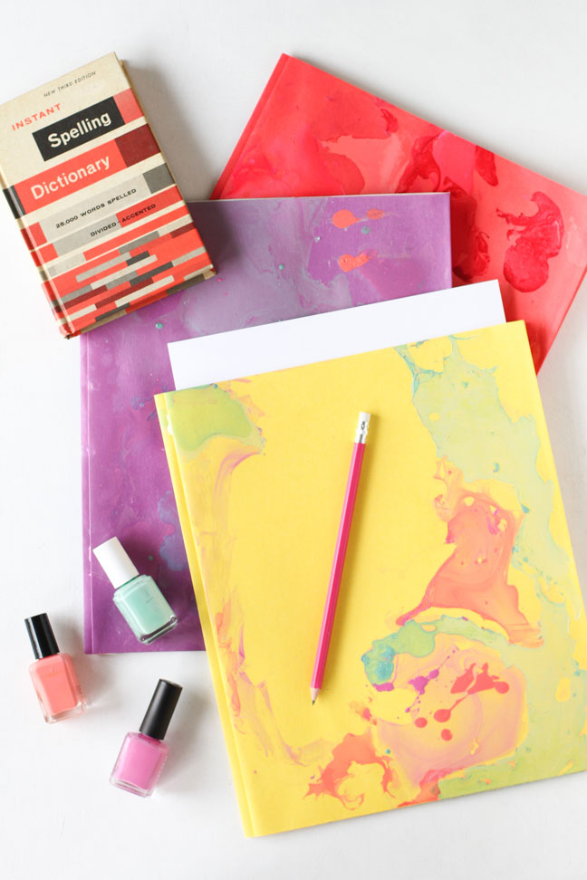 DIY Marbled Folders for Back to School