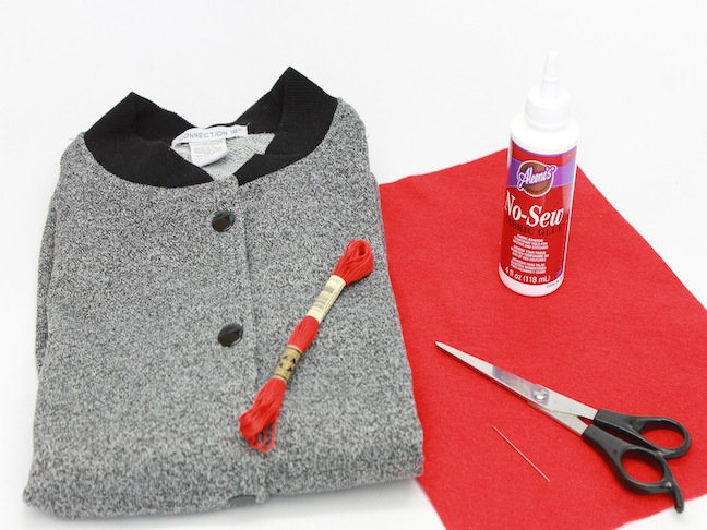 MATERIALS for heart elbow jacket diy