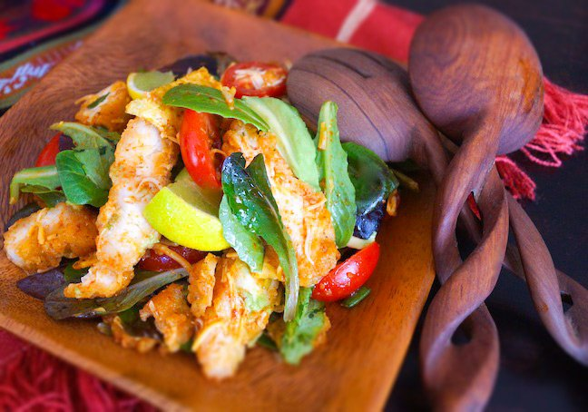Crispy Southwest Chicken Salad Recipe with Chili-Lime Dressing