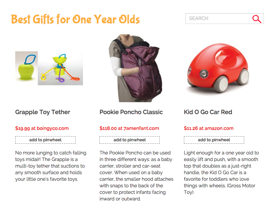 pinwheel gift guide for one year olds