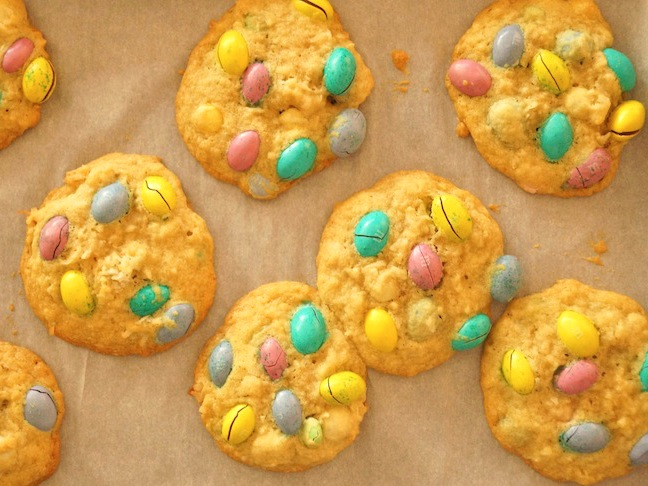 The Ultimate Gluten Free Easter Cookie-blue-pastels-candy-baking sheet-parchment pap