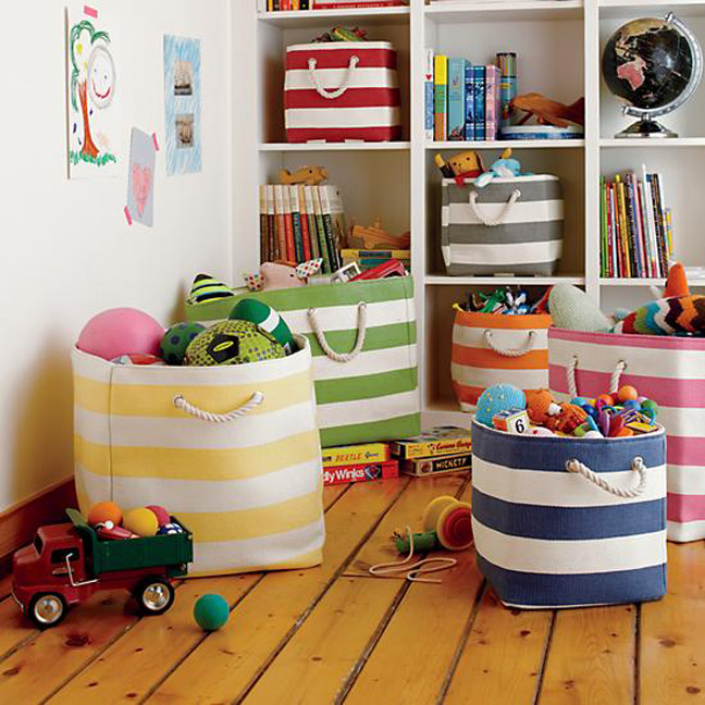 Land of Nod flexible storage baskets for kids