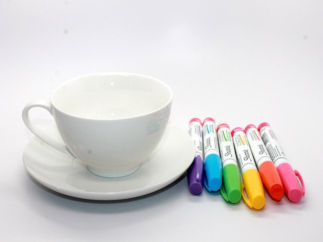Design Your Own DIY Mother's Day Teacup Garden - pens and cup
