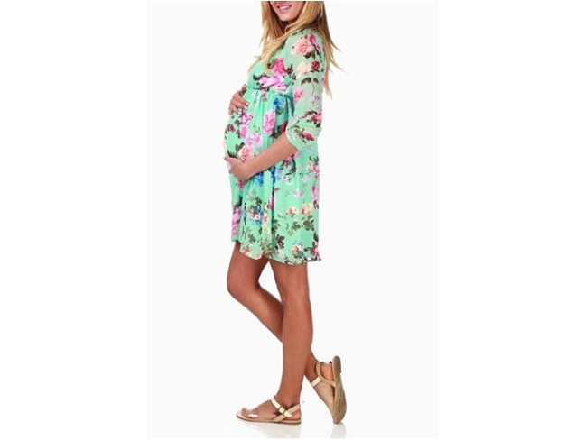 Pink Blush Maternity Mint Baby Shower Dress View 2_opt