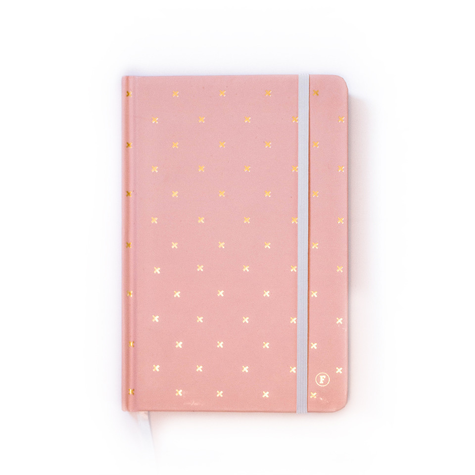 frank stationery journal in pink with gold crosses