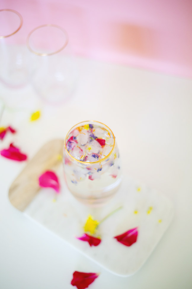 pink-wall-flower-ice-cubes-water