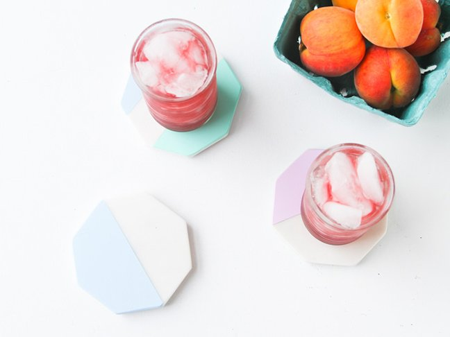 DIY // Painted Pastel Marble Geo Coasters