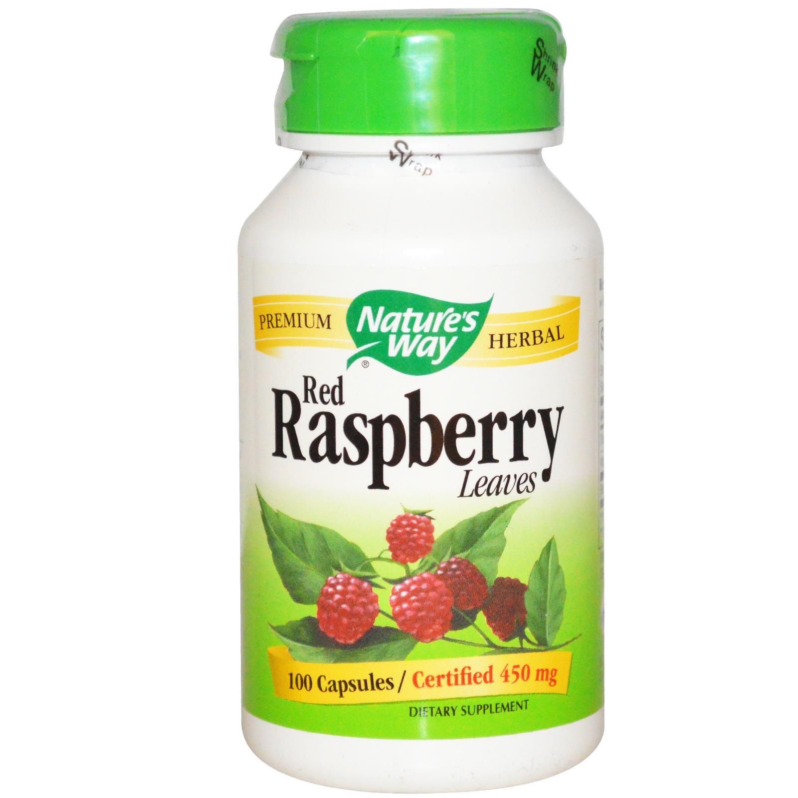 A bottle of Nature's Way Red Raspberry Leaf capsules