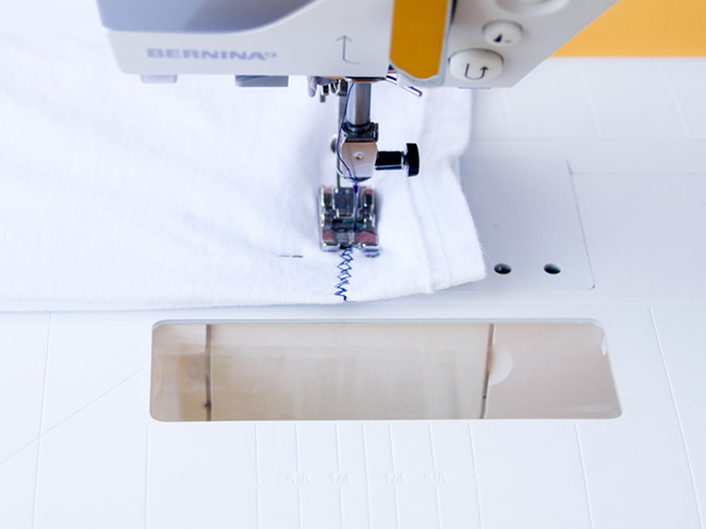 Sewing a t-shirt tote in ten minutes.