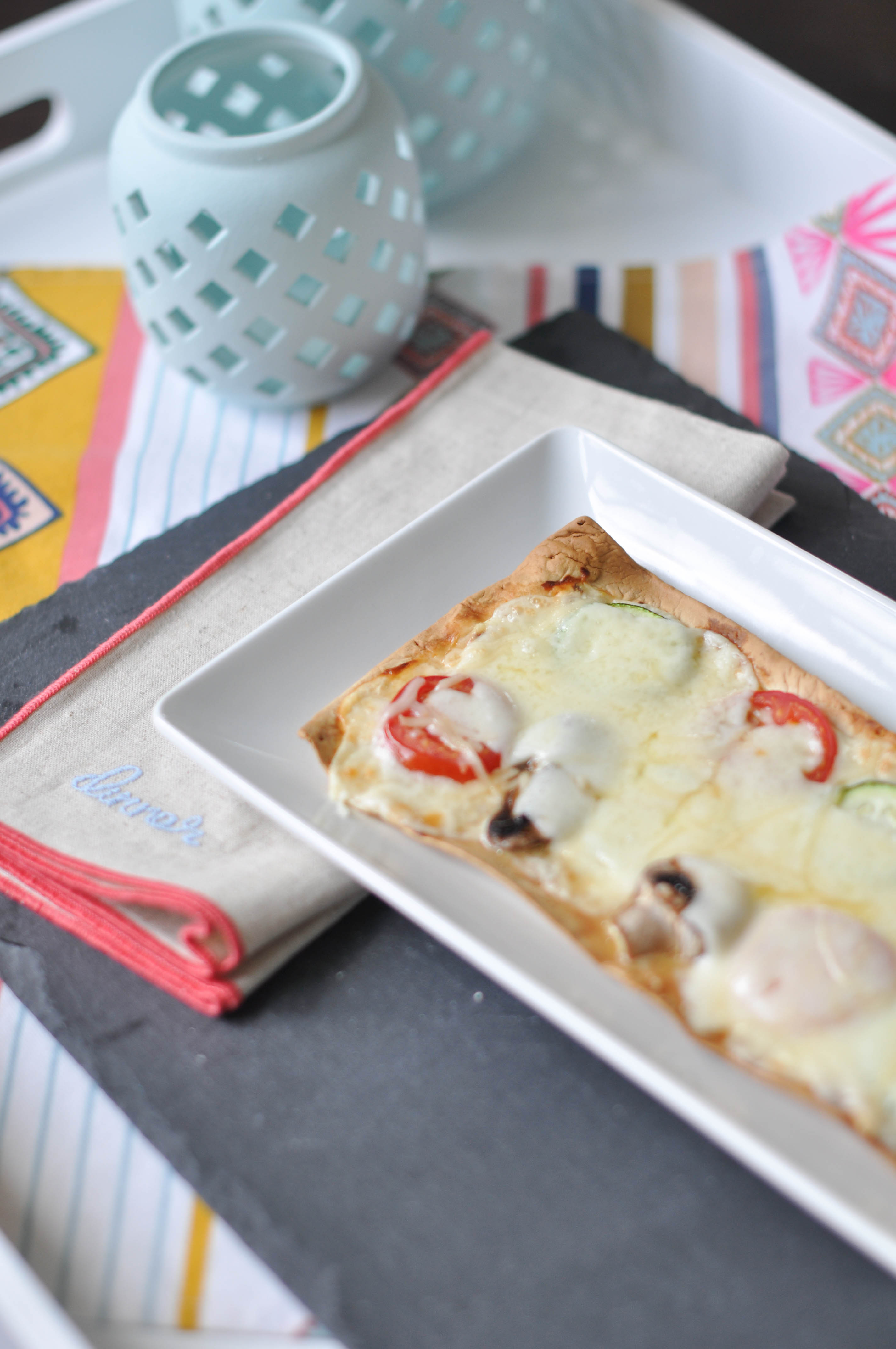 Fresh seasonal vegetable grilled white flatbread pizza with Hidden Valley® Original Ranch Dressing