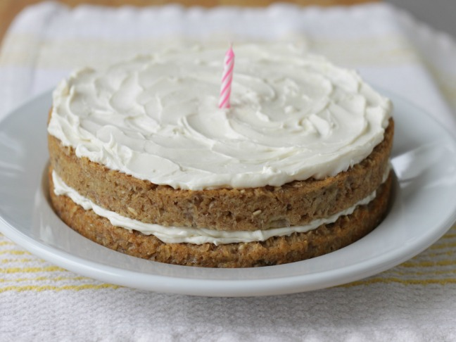 whole image banana bread birthday cake