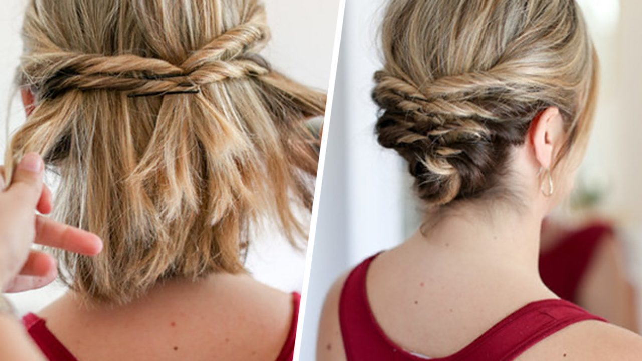 This Quick Messy Updo For Short Hair Is So Cool