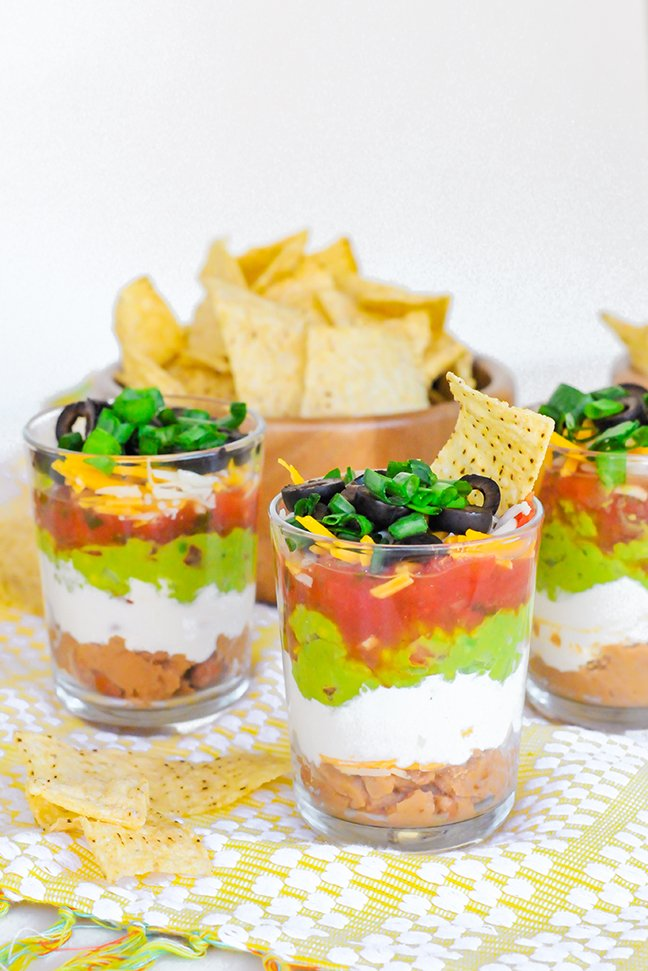 beautiful mini 7 layer dips