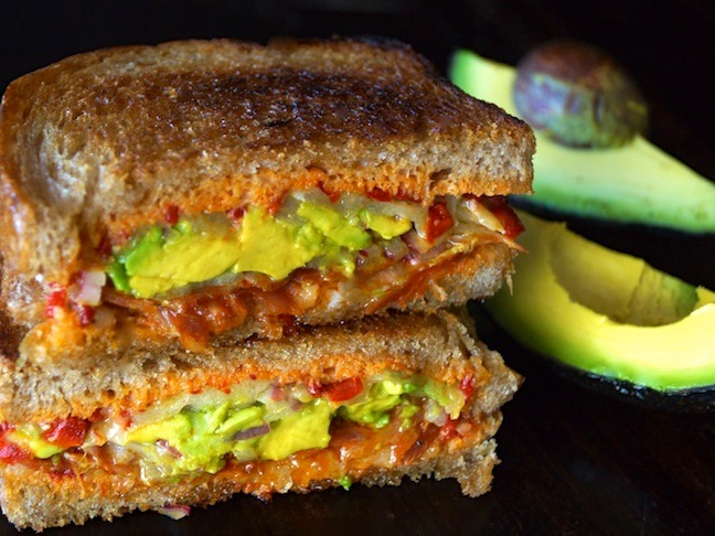 grilled cheese sandwich-avocado-green-red-toast