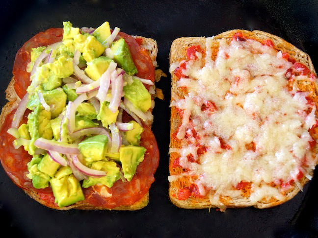 grilled cheese sandwich-avocado-green-white-toast