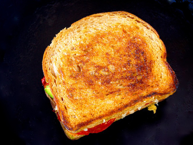 top of a grilled cheese sandwich-toast