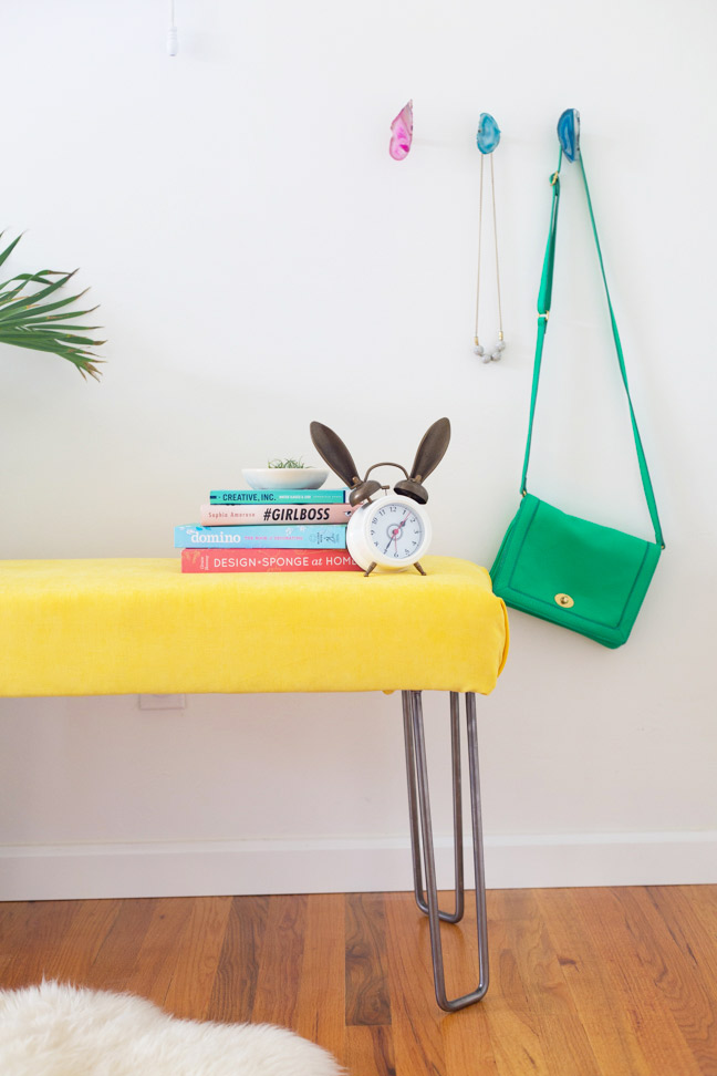 diy-yellow-velvet-bench-books-purse-clock