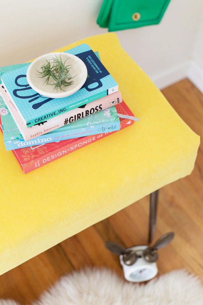 diy-yellow-velvet-bench-with-books